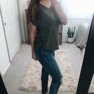 American Eagle Lace Up Side Top XS